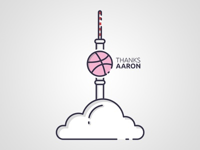 Hello Dribbble! hello dribbble first shot clouds tower germany berlin flat new thanks invitation