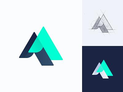 Logo idea for a tech company m drawn color tech mint illustration modern mark logo icon branding brand