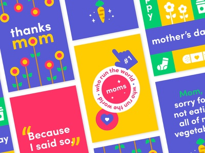 Mother's Day Greeting Cards monday.com illustration vector typography print branding design greeting card mothers day