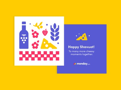 Happy Shavuot! monday.com greeting card stickers jam cheese picnic shavuot icons print internal branding design branding
