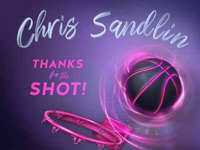Chris Sandlin, Thanks for the Shot! glowing hoop basketball dribbble debut painting illustration vector