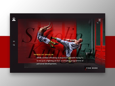 Shaolin Kung Fu web ux ui minimal flat design concept fighting combat marital arts kung fu