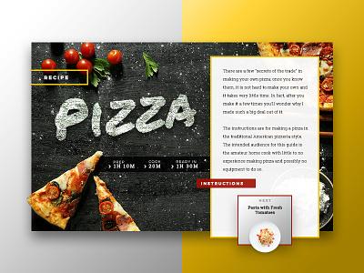 Food: Pizza Recipe web ui ux flat concept design menu restaurant recipe pizza food