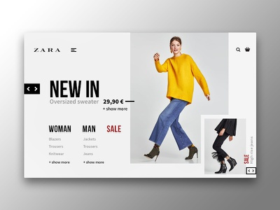 Zara - Online shop web ux ui flat design fashion shop store zara clothes concept