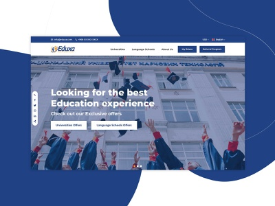 Eduxa Website learning app university school minimal clean e-learning online courses online platform learning learning platform blue website web web design design ux ui