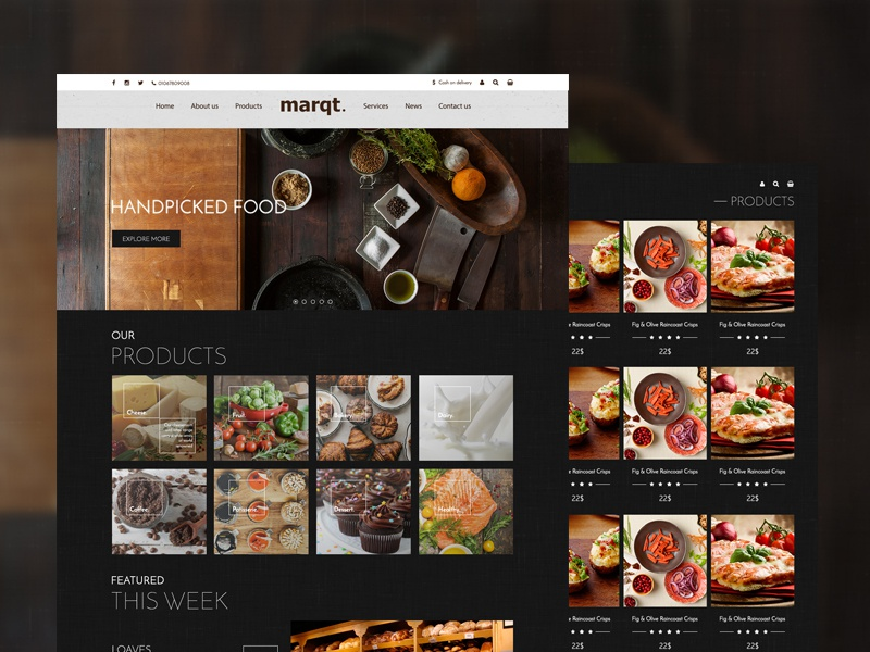 Marqt - Handpicked food store website web design web design ux ui