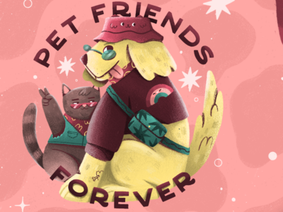 PET FRIENDS FOREVER pet illustration petshop pets pet cat illustration cat design illustration art dog illustration dog