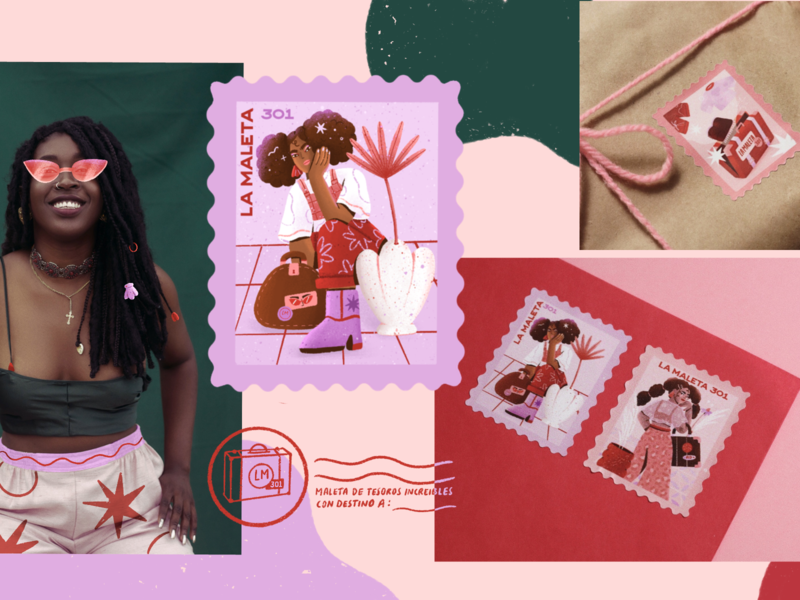 La maleta store vintage store stamps stamp package design packaging fashion brand fashion illustration fashion illustration