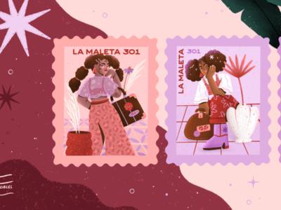 LA MALETA illustration package design packaging vintage store stamp illustration stamps stamp