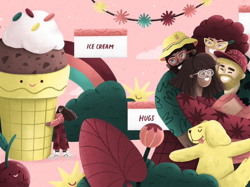 QUARANTINE quarantine friendly friends illustration friends editorial illustration plant illustration illustration