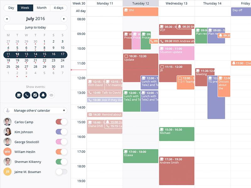 Show/hide user events easily week users toggle switch ux ui crm organiser events desktop clean-ui calendar