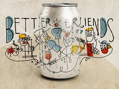 better friends! brewing minneapolis friends fights packaging label branding design beer texture illustration