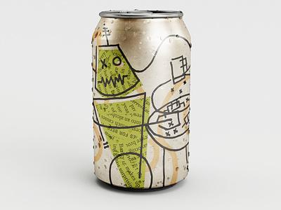GRILLIN' SZN beer label minneapolis packaging label robot branding beer texture illustration