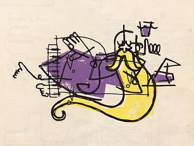 lounge wizard character lounge design branding beer texture illustration