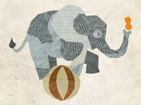 an elephant, on a ball, with a peanut