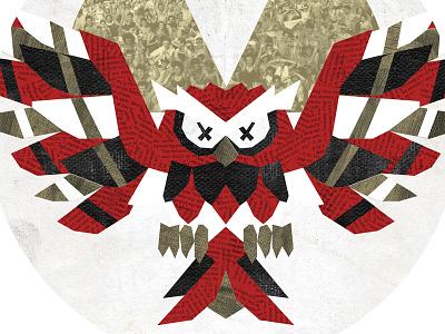 angry owl minimal simple design tough anger nature owl bird texture illustration