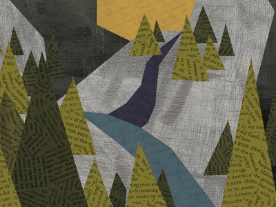 the pacific northwest trees mountains paper north nature texture illustration