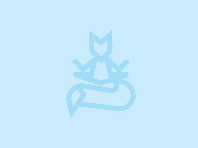 meditating fox logo calm animal fox banding logo