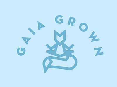 meditating fox lock up local indie logo branding fox