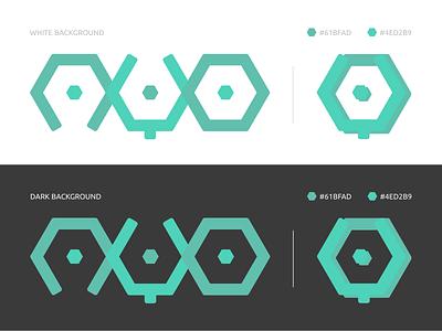 Ayojs logo proposition dark light tones pastel hexagon green software javascript logo
