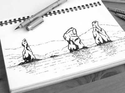 The Three Brothers, Kamchatka kamchatka drawing sketch graphic ink