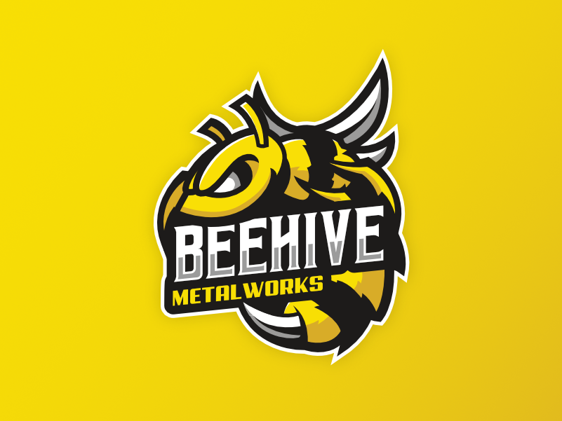 Beehive Metalworks metalworks metal beehive bee illustration gamer esports brand vector designer mascot design creative branding logo