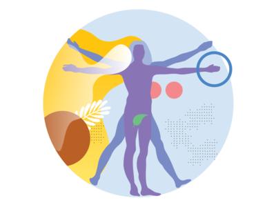 The Vitruvian Man modern colors geometry geometric human digital illustration