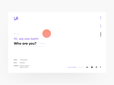Bettr Contact Page website webdesign ux ui minimal gradients colorful agency