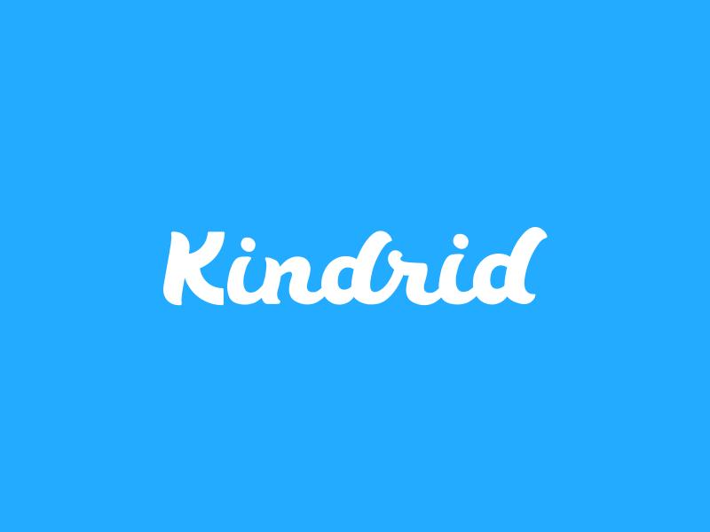 The Kindrid Logo hand drawn font script blue logo