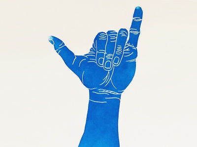 🤙🏽 Print handmade print chill surf hang loose shaka emoji blue hand printmaking block print linocut