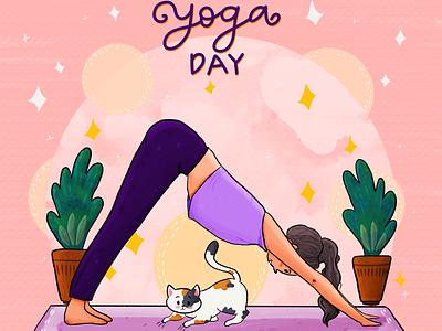 Happy International Yoga Day internationalyogday yoga characterillustration catillustraion cat funny design flat cute doodling illustrator illustration doodle vector