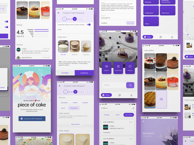 Piece of Cake - find home-made cakes cake cake shop mobile app design ionic angular