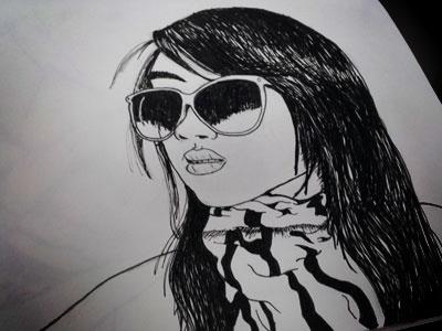 Illustration A Day illustration design art drawing girl pink ink stroke