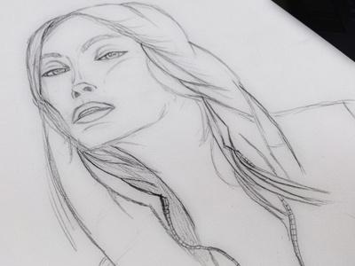 Hood Girl art drawing design illustration pen ink