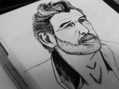 Man art drawing design illustration pen ink