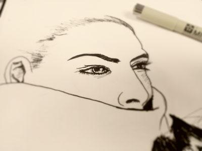 Shroud girl sketch pen ink drawing art