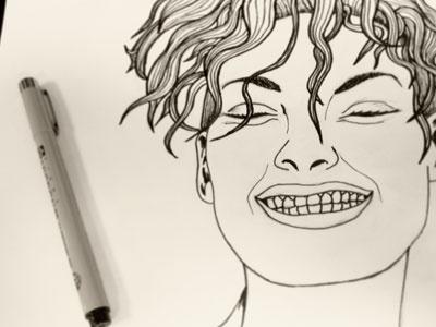 Hair drawing girl art ink pen illustration