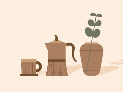 Distance Coffee ceramic moka brown drink caffeine caffè coffee plants flat nature berlin 2d illustration