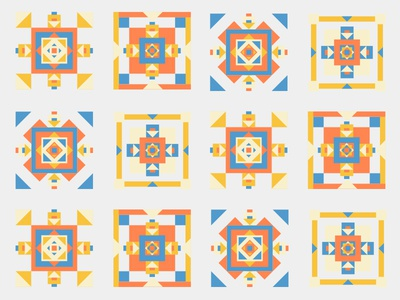 four of the same (ish) vector shapes illustration geometric pattern