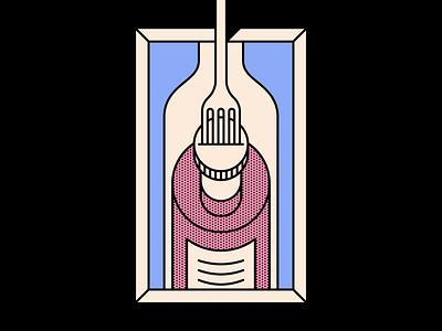 Wine fork cork wine design simple shape geometric colour illustration