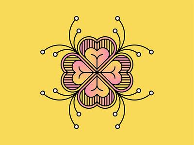 Flower love flower design simple shape geometric colour illustration