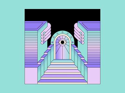 Door eye door design simple shape geometric colour illustration