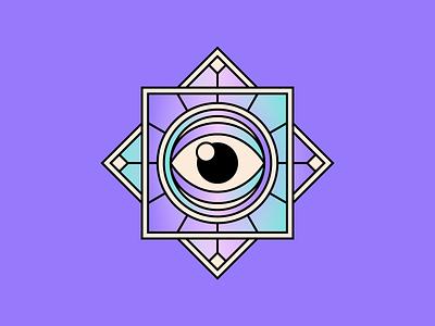 Charm eye simple shape geometric colour illustration