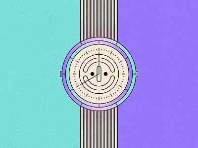 Positive O'clock time happy positive face watch simple shape geometric colour illustration