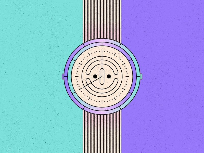 Positive O'clock time happy positive face watch simple shape geometric colour illustration