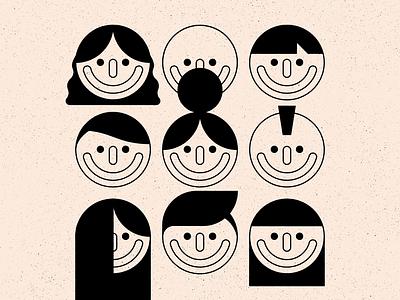 Hair eyes people hair faces texture design simple shape geometric colour illustration