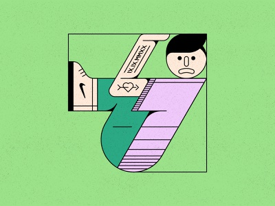 Trapped shoe tattoo face person colour geometric texture illustration