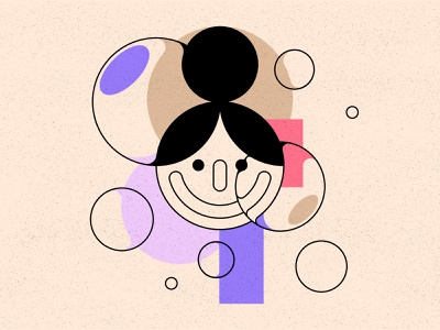 Bubbles 2 colour shape smile person texture geometric illustration bubbles