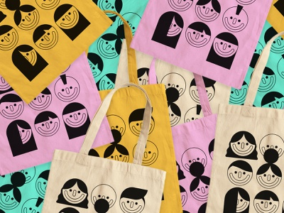 Tote Bags people face tote bag geometric colour illustration