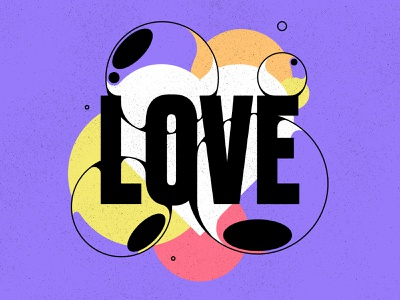 All you need is simple geometric texture typography bubble love illustration